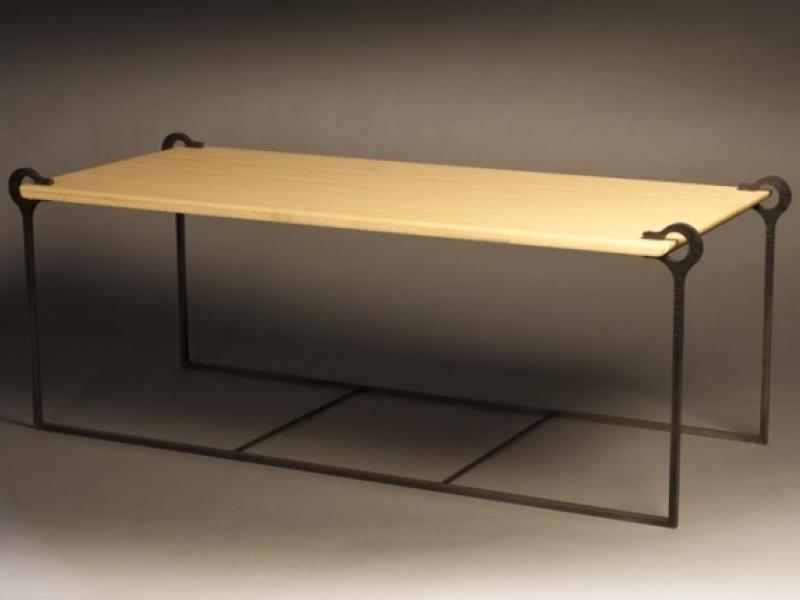 Semicirculus Steel Bamboo Table