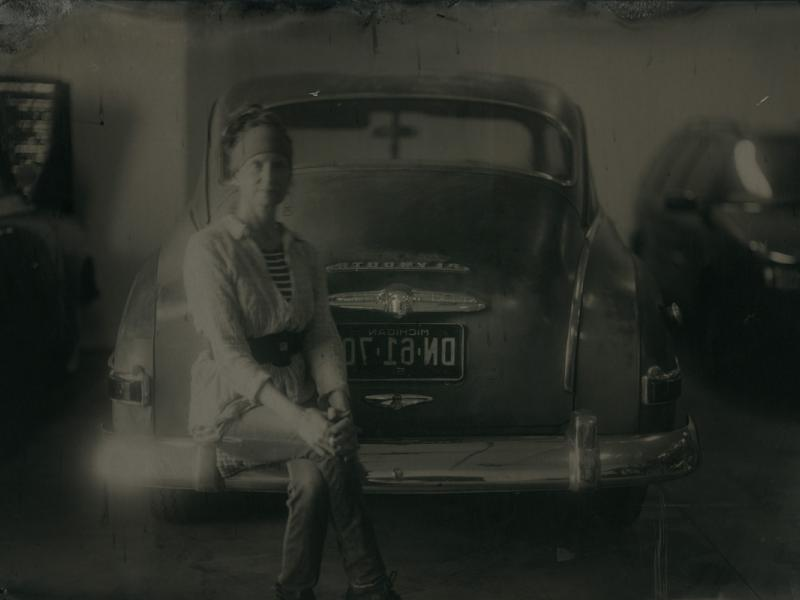 Claudette Stern with 1951 Plymouth Tintype