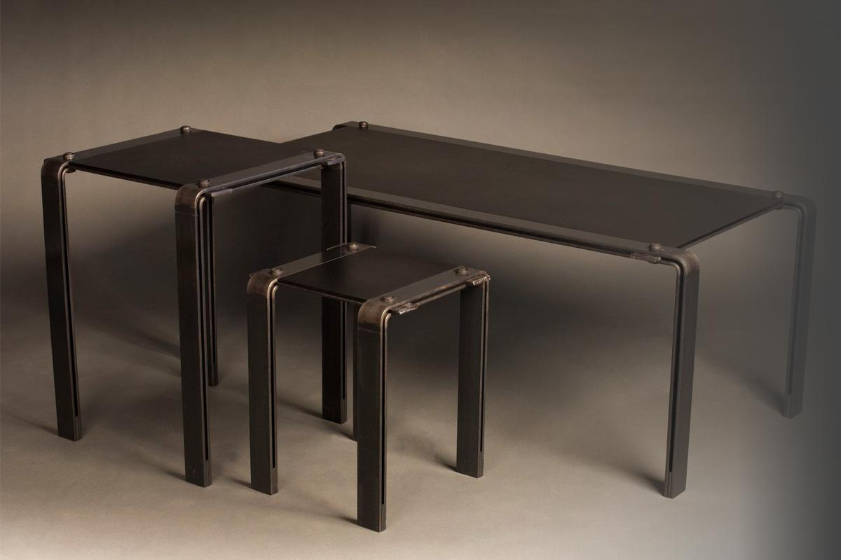 Black on Black Steel Tables