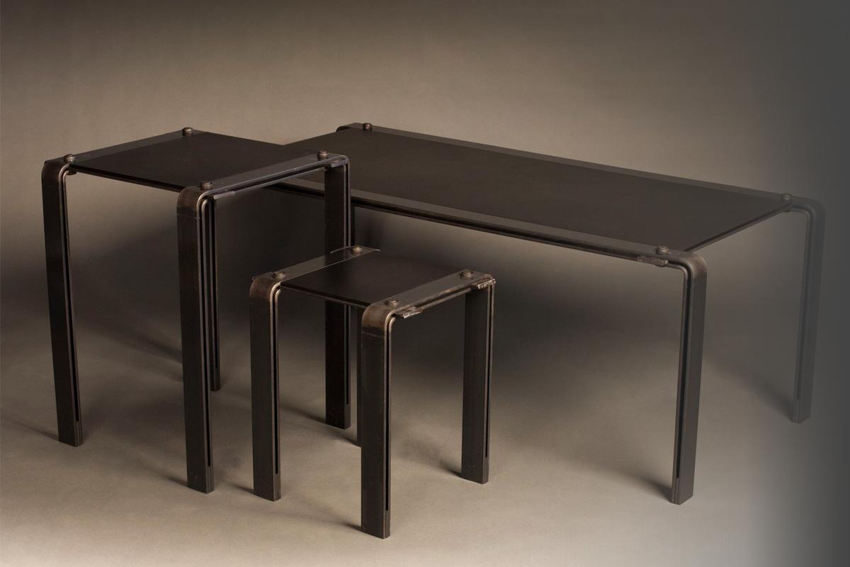 Black on Black Steel Tables