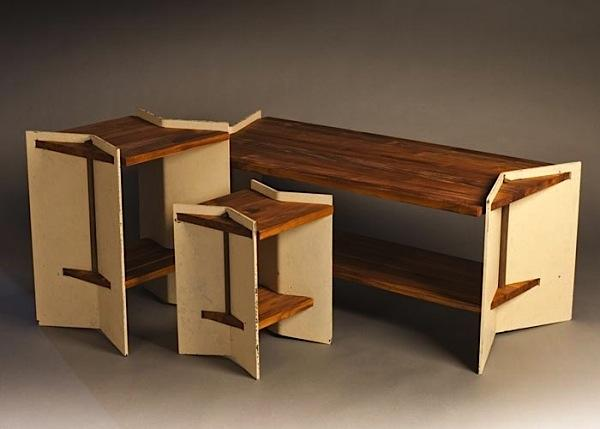 Matrix Forged Steel and Teak Table
