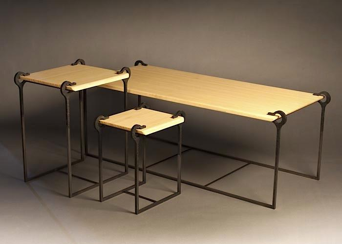 Semicirculus Steel Bamboo Table